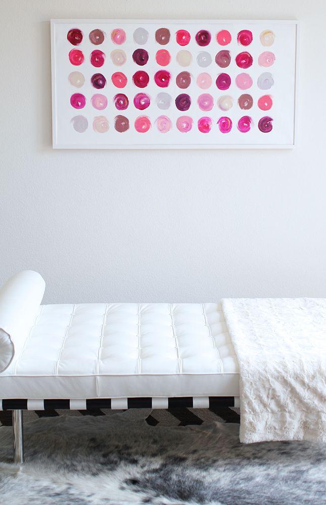 gorgeous lipstick dots: Paintings Art, Lipsticks Shades, Made By Girls, Only Ramos, Nails Polish, Lipsticks Art, Dots, Girls Bathroom, Bedrooms Ideas