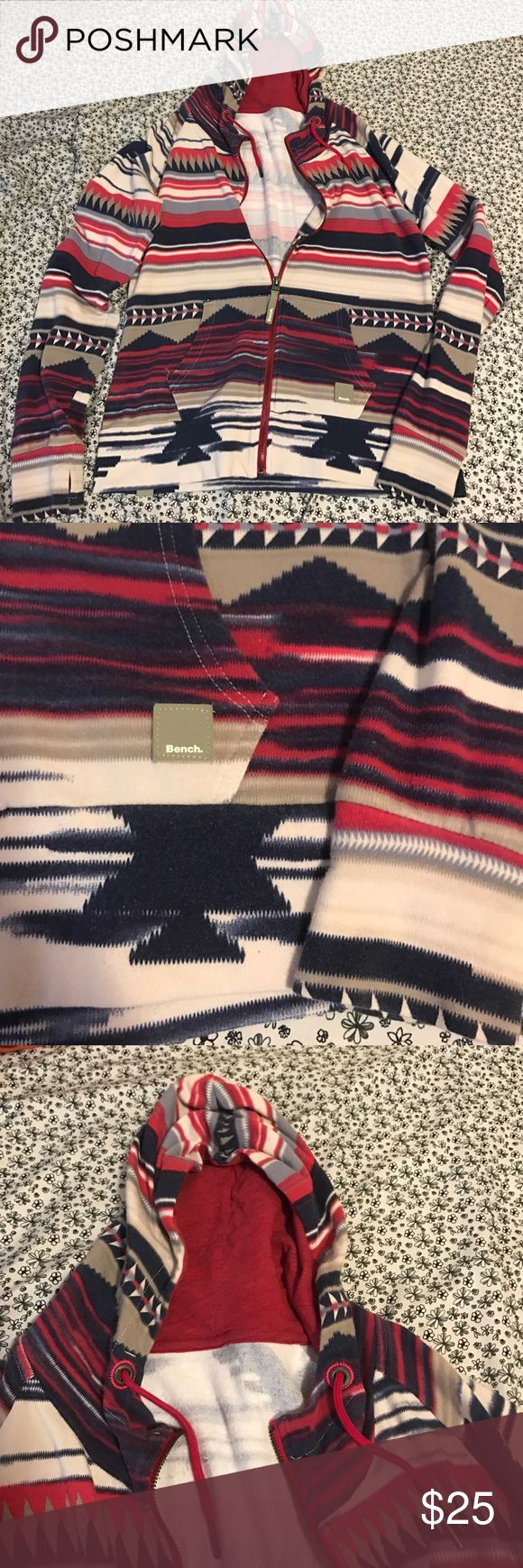 Size medium tribal print bench hoodie. This hoodie is super cute and comfortable. It has thumb holes (optional) and all the cute little details that bench offers. Bench Jackets & Coats