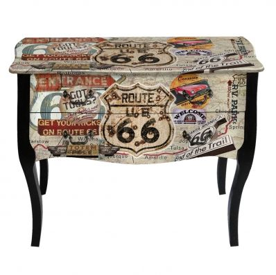 Tall Bedside Tables This nightstand theme follows our travelogue and nation series design with its highway Route 66 tag and energized sand colors to encourage you across the North American Continent from Chicago to California.  Kingdeful Arts & Crafts Co.,Ltd.