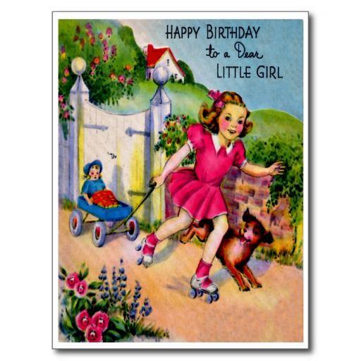 """Zoet Meisje en Puppy - Retro Gelukkige Briefkaart van de Verjaardag De vintage Retro Kaarten van de Verjaardag voor alle leeftijden.   De grappige, Leuke, Gelukkige Kaarten van de Verjaardag voor kinderen, meisjes en jongens, mamma's en dads, grootmoeder en grootvader, broers en zusters, tantes en ooms, neven… en voor vrienden.  Alle kaarten zijn hersteld, de hersteld de smetten, vlekken en de scheur. Personaliseer als u door te gebruiken """"aanpast het"""" knoop dit wenst. Wij hopen u van ons…"""
