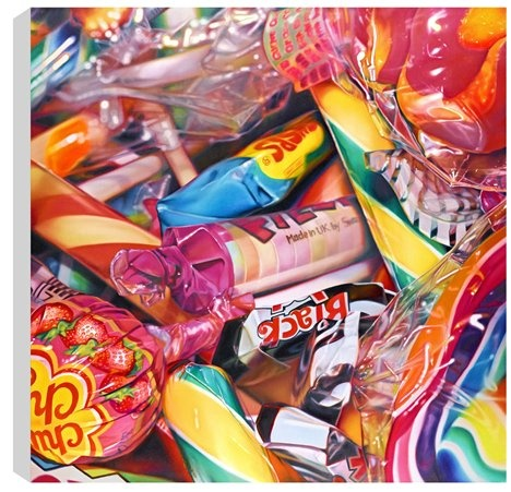 Sweet Dreams by Sarah Graham example of still life and the choice of a close up view emphasizes the number of wrappers which suggests the excess of materialism and wasted packaging.