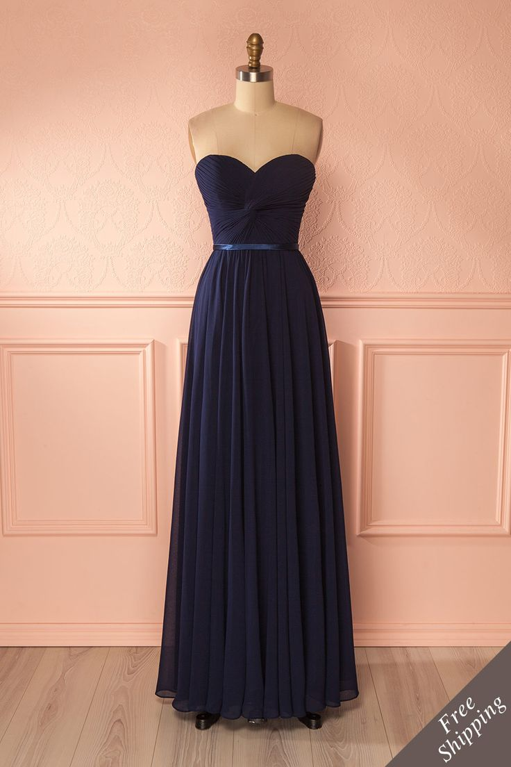 Myrcella Navy - Blue laced back gown, to add a romantic touch to a special evening #promdresses #bridesmaid