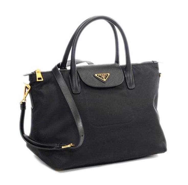 shoulder bags: Prada BN2106 Black Tessuto Nylon Saffiiano Leather ...