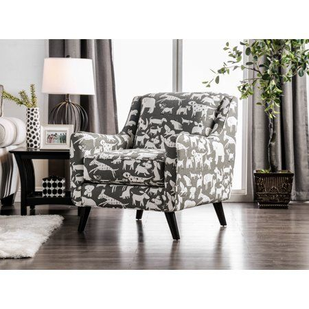 Furniture Of America Odella Gray Dog Print Accent Chair White