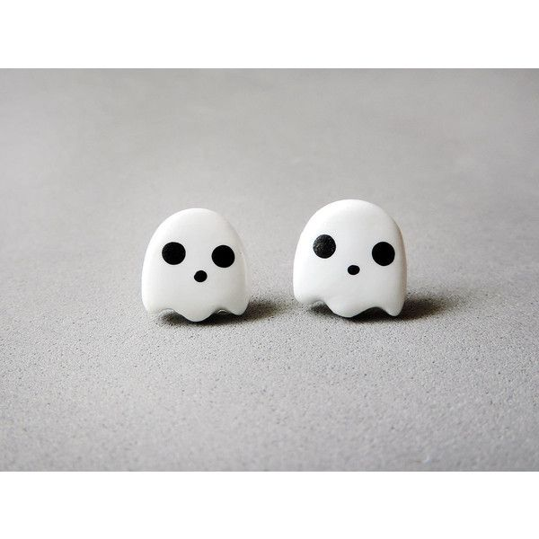 Cute Kawaii White Ghost Earrings Halloween Jewelry ($10) ❤ liked on Polyvore featuring jewelry, earrings, accessories, brincos, piercings, surgical steel jewelry, white jewelry, surgical steel earrings and white earrings