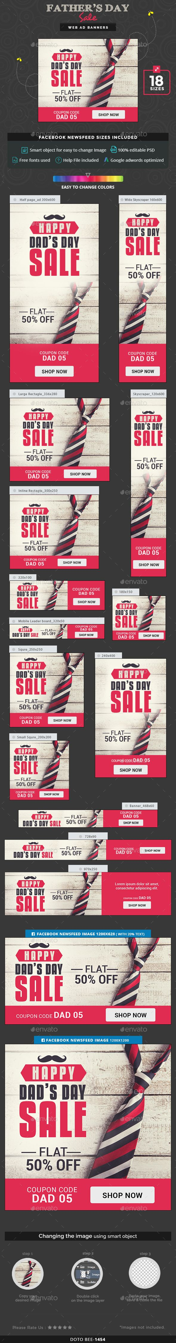 Fathers Day Sale Banner Design Idea - Banners & Ads Web Template PSD. Download here: http://graphicriver.net/item/fathers-day-sale-banners/16516783?s_rank=389&ref=yinkira