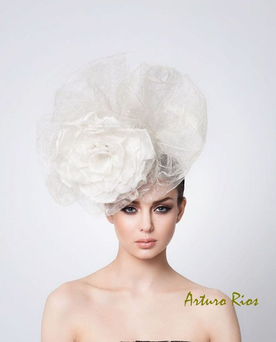 Avant Garde Wedding Hat, Bridal Silk hat, Couture Wedding Hat, Veil, Arturo Rios Hats