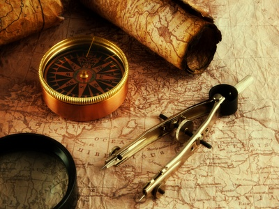 Vintage Map and Compass