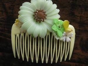Vintage Yellow With Pale Green Flowers Hair Comb Accessory | eBay
