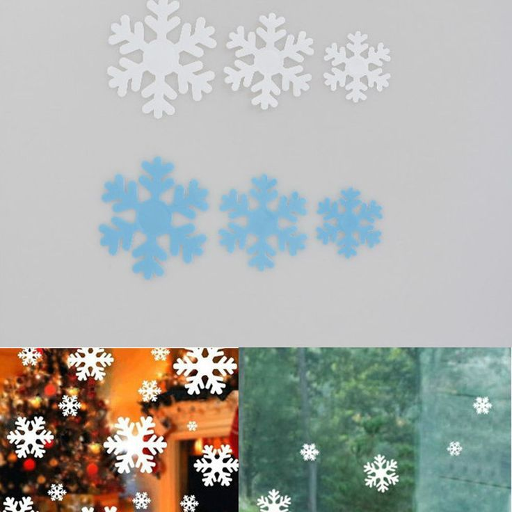 48pcs Xmas Winter Snowflake Wall Stickers Christmas Window Wall Decals Snow