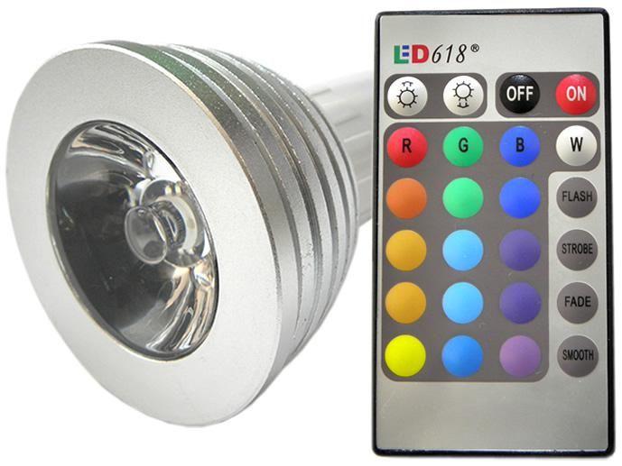 ŻARÓWKA GU10 RGB LED + PILOT 230V 3W