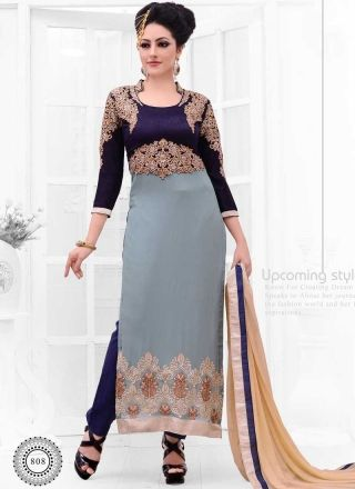 Floral Grey And Blue Faux Georgette Embroidery Work Churidar Suit