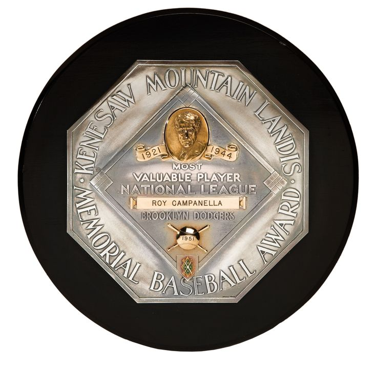 Auction Results: Roy Campanella's 1951 National League Most Valuable Player Award (Campanella LOA) Actual Player Award. This went as high as $177,750 at Goldin Auctions & did not sell.  #auctionresults   #sportsmemorabilia   #auction