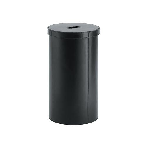 Complements Korame Black Laundry Basket in Genuine Leather