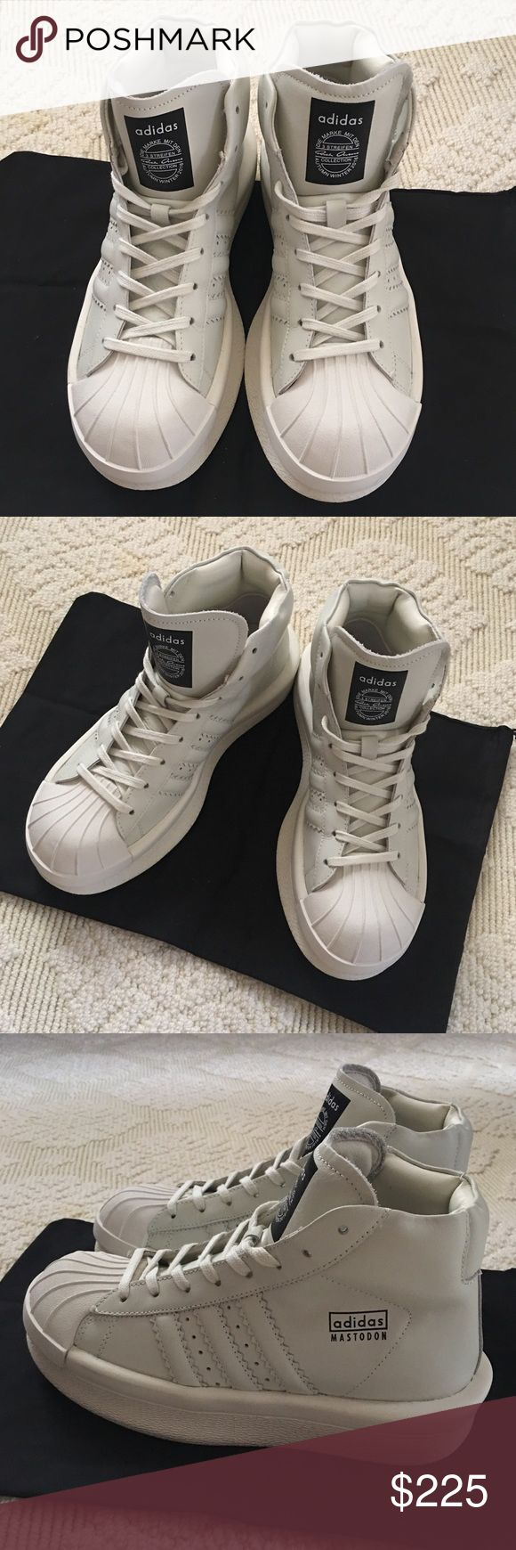 Adidas x Rick Owens 'Mastodon Pro' NEW Adidas x Rick Owens 'Mastodon Pro' ! Brand new! Never worn! Got it as a gift from a friend but it's way too big for me, it's men shoes but I would say it fits a 7-7.5 in women. These are retailed at $1K, but I'm not a big sneaker person so I don't know if these are 💯 authentic, that is why I'm posting it at such low price, so please don't message me regarding its authenticity, if you want the 💯 authentic pair, go directly to the store or their online…