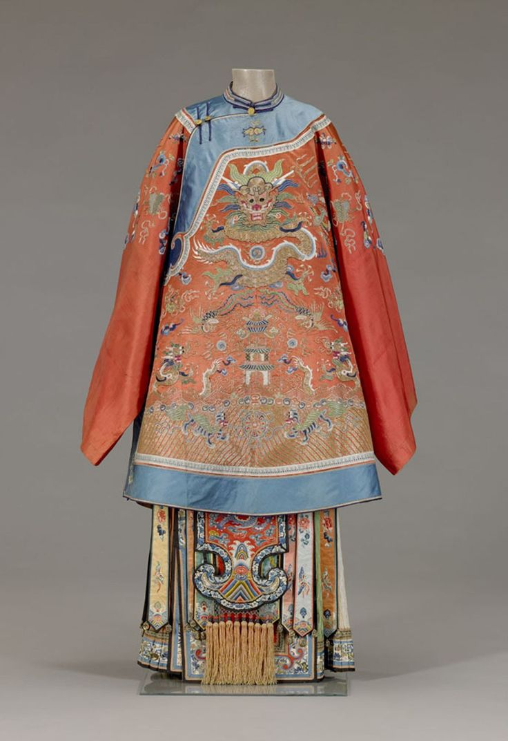 Bridal coat Nationality: Chinese Creation date: about 1870 Dynasty: Qing dynasty Materials: silk damask, embroidered with silk threads Gallery label: In China, red is associated with family celebrations, particularly weddings and births. It was appropriate for bridal attire to be embellished with imperial symbols. The dragon symbol for the emperor represents the groom, and the phoenix, which is the symbol of the empress, represents the bride. On the upper front of the jacket and above the…
