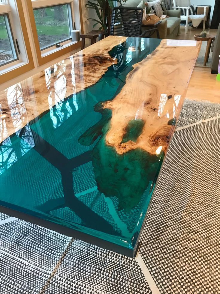 Turquoise Resin River Dining Table Blue Dining Tables Wood Table Design Wood Resin Table