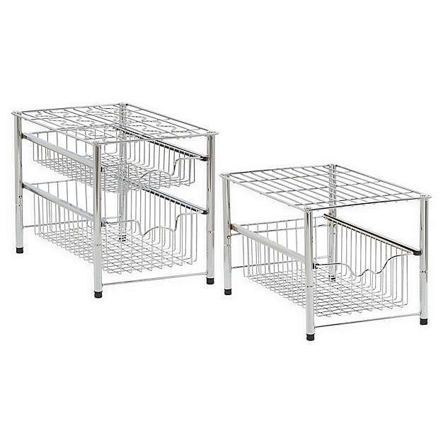 Mind Reader 2 Tier Mesh Storage Baskets In Silver Under Cabinet Drawers Modern Shelving Cabinets Organization