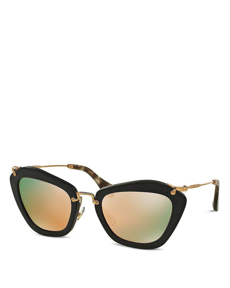 Miu Miu Mirrored Noir Cat Eye Sunglasses   Bloomingdale's
