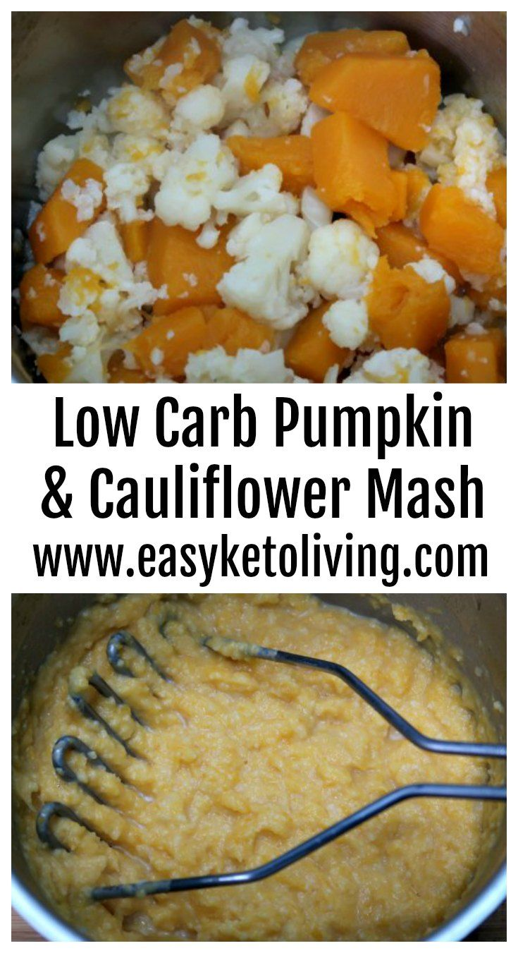 Low Carb Pumpkin Mash Recipe – Keto Mashed Cauliflower Potatoes Substitute Recipes – great for fall or as Thanksgiving sides and is gluten free, made with healthy butternut squash and butter. #lowcarbmash