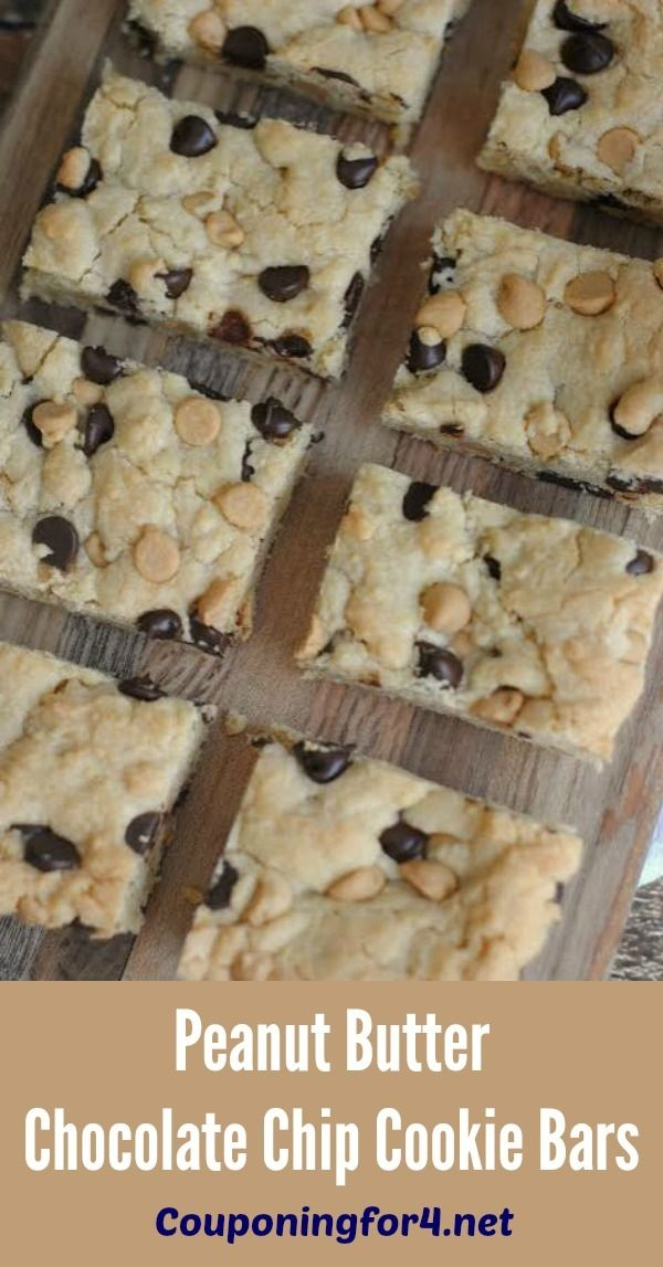 Peanut Butter Chocolate Chip Cookie Bars Recipe - this easy dessert is perfect to make with the kids and takes only a few minutes!