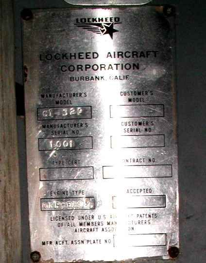 Another view of Data plate for Jetstar 001 c/n 1001