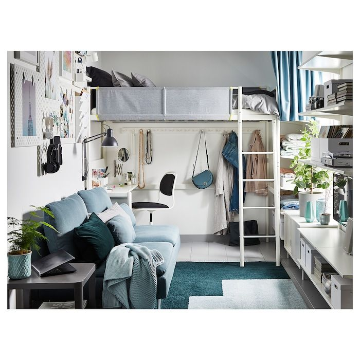 Vitval Loft Bed Frame With Desk Top White Light Gray Twin In