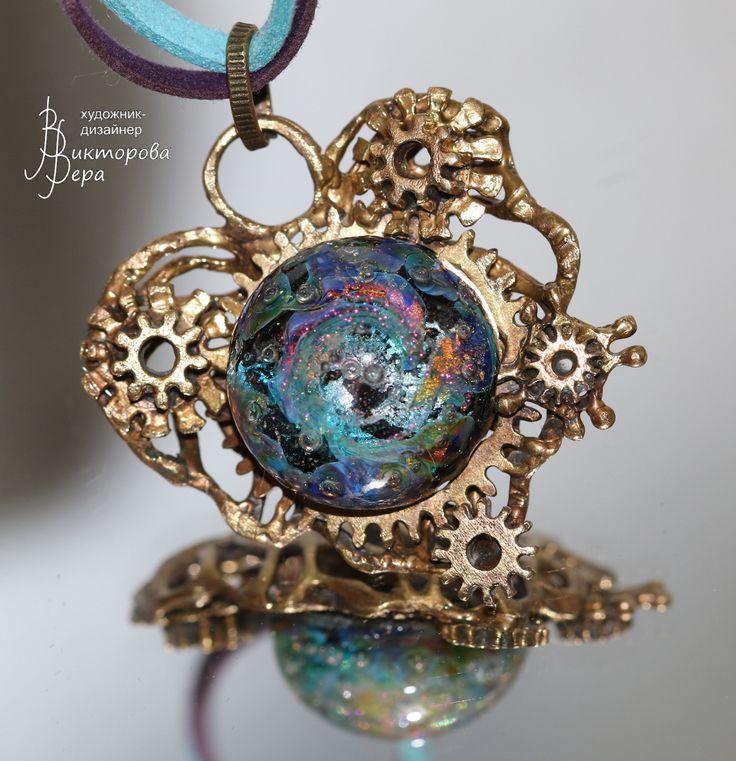 Mechanical heart steampunk. Artisan handmade lampwork, handmade bronze.