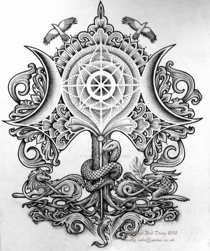 Tree Of Life Four Elements Tattoo Design