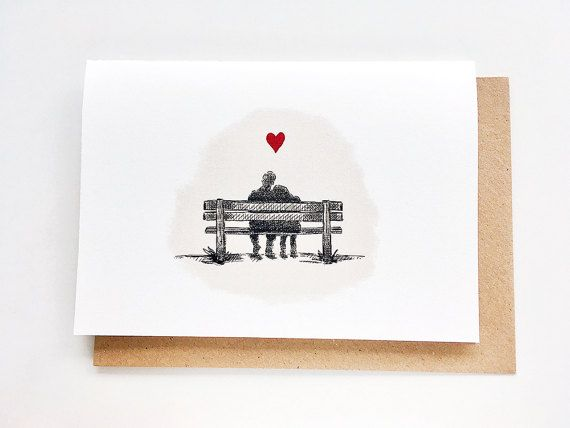 Couple on Bench. I love you card Anniversary Card. Buy this at printmantis.etsy.com.