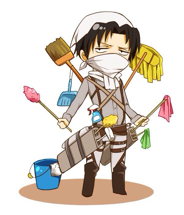 Levi and his 3d cleaning gear. look like a levi,  clean like a BOSS