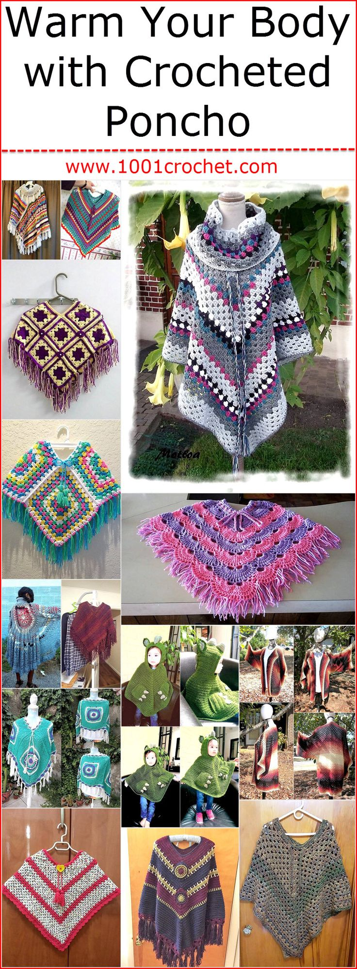 Those with the unique fashion sense can go for a crocheted poncho, which can be crocheted with multiple colored yarns and they works well in keeping the person away from the cold wind by covering half of the body. The great thing about crocheting poncho is that a person can create it according to the dress color with which she wants to wear it.