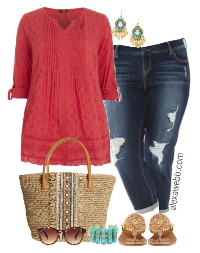 Plus Size Spring Melon - Alexawebb.com by alexawebb on Polyvore featuring polyvore fashion style Slink Jeans Jack Rogers Skemo BaubleBar Forever 21 Leslie Danzis clothing outfit plussize alexawebb - clothing dress womens, petite womens clothing, sale for womens clothing