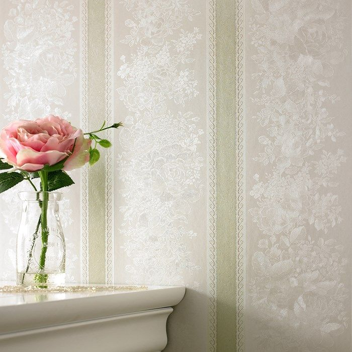 Floral Stripe Green Shimmer Wallpaper by Graham and Brown