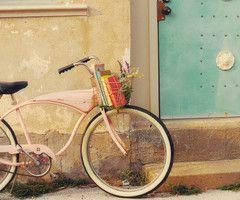 Vintage Bicycles: Pink Bike, Blue Doors, Vintage Pink, Book, Vintage Bicycles, Old Bike, Baskets, Beaches Cruiser, Vintage Bike