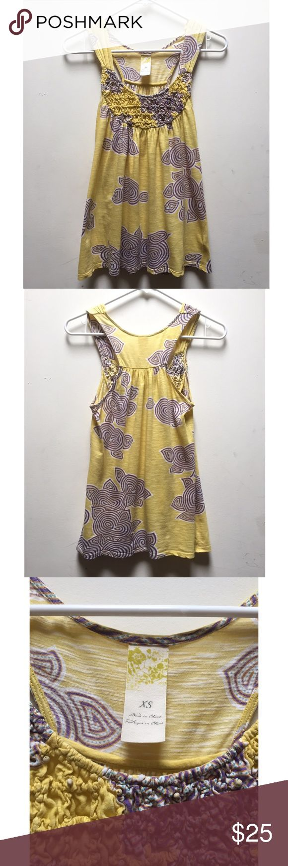 ☀️EUC Anthropologie C. Keer Yellow Coil Tank Top C. Keer by Anthropologie Yellow Tank Top Printed Blouse,  Yellow Coil Tank Top, excellent used condition, size extra small Anthropologie Tops Tank Tops