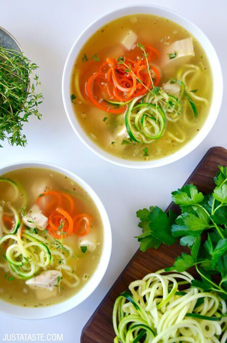 Zucchini Noodle Chicken Soup | recipe via justataste.com