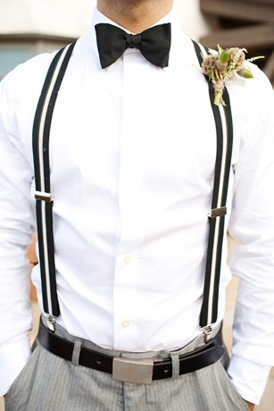 Black & White Suspenders for the Groom = Classy & Sexy. ^_~ <3