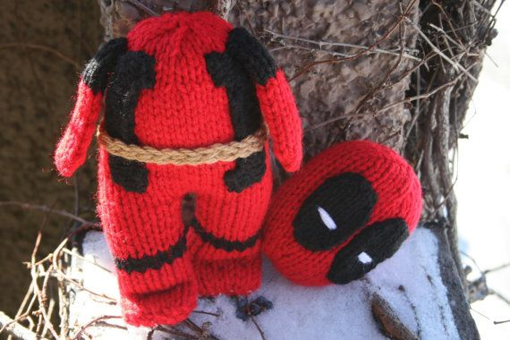 Headless Deadpool Hand Knit soft stuffed toy doll  by forthetiny