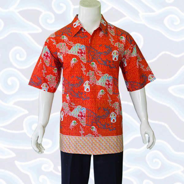 kemeja batik orange KP12 di http://sekarbatik.com/baju-kemeja-batik-pria/