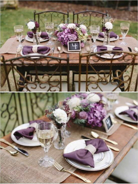 Shades of purple and grey wedding for Rustic table
