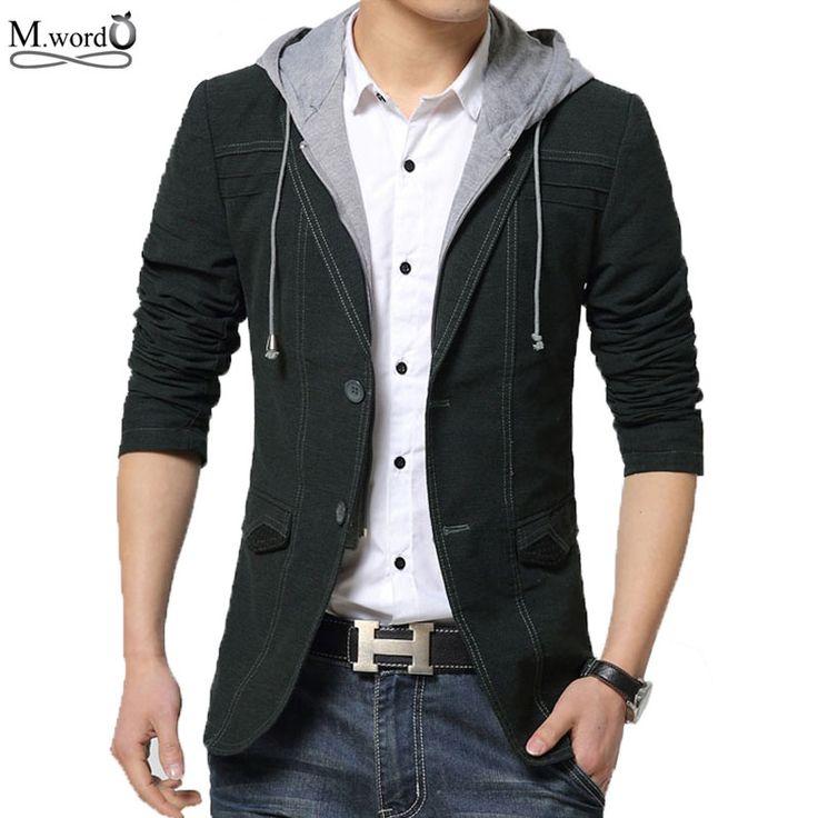 2016 nueva primavera para hombre con capucha chaqueta de traje chaqueta casual hombres chaquetas delgadas del ajuste de la chaqueta de algodón negro y oro blazer masculino en Blazers de Ropa y Accesorios en AliExpress.com | Alibaba Group