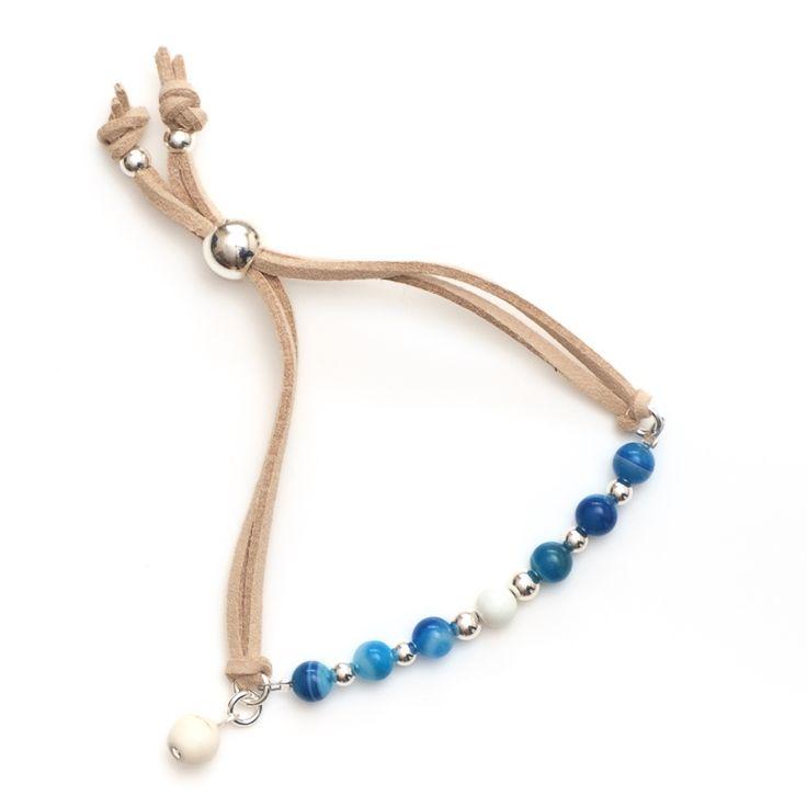 xada jewellery - Santorini Boho blue suede beaded bracelet, $29.95 (http://www.xadajewellery.com/shop-by-collection/xada-boho-blue-suede-beaded-bracelet/)