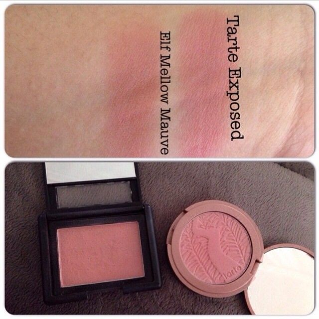 """""""Mellow Mauve"""" ($3.00 at target or eyeslipsface.com) is a perfect dupe for Tarte """"Exposed"""" ($25.00 at Sephora)"""