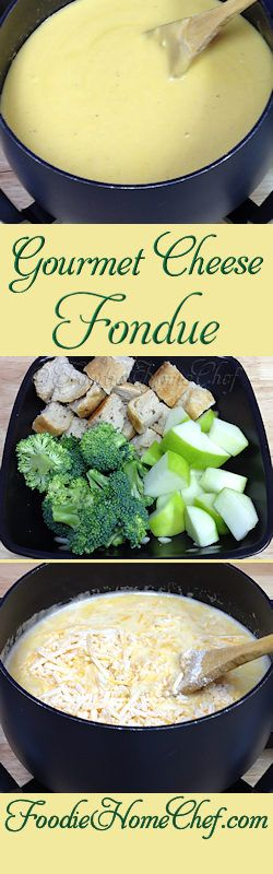 Gourmet Cheese Fondue - This recipe was given to me, in the 1980's, by the famous Melting Pot restaurant. It's the best cheese fondue I've ever had. You can serve this as an appetizer, a snack for a few people or a light meal. It's really easy to make, fun to eat & cleanup is so easy. You're going to love it! #appetizers #snacks