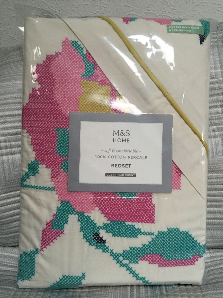 M&S 100% Cotton Percale BEDSET KING SIZE DUVET Cover & 2PILLOWCASES BNWT RRP£79