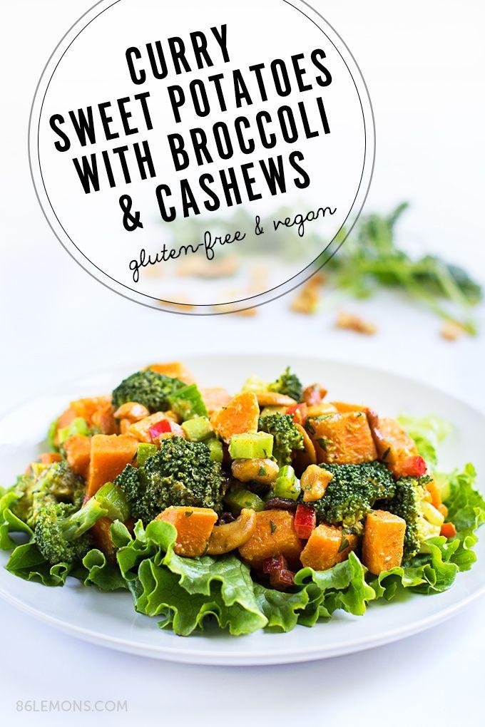 Curry Sweet Potato Salad with Broccoli and Cashews #vegan #gluten free (01)