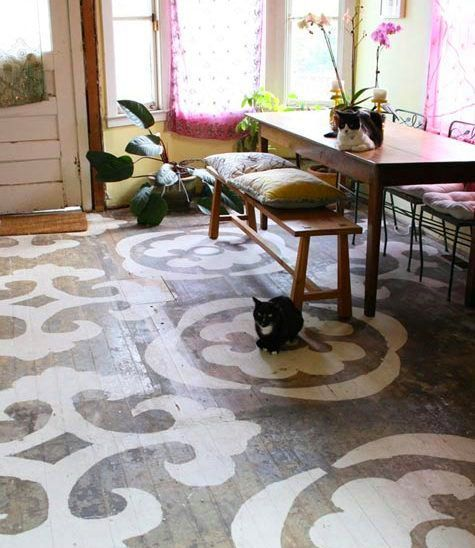 There's a kitchen floor that I know, that's covered in horrible tile and would get a facelift on a tiny little budget.  I'd demo that tile and stencil right on the subfloor to get me through, if that were my kitchen floor.  Might look something like this when it's done. @Ashleigh DeBrunner