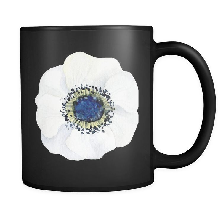 Chic Black Mug with White Anemone Flower at  Multichic.com. So glam! #whiteanemone #anemoneflower #uniquecoffeemug