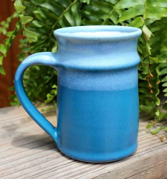 Webb Pottery Aqua blues coffee or tea mug, high fired stoneware, on etsy for $22